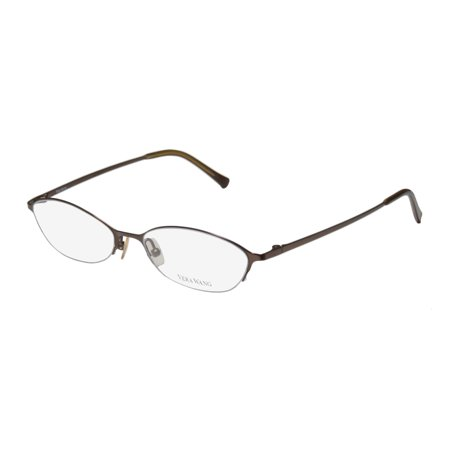 New Vera Wang V101 Womens/Ladies Cat Eye Half-Rim Titanium Dark Brown Half-rimless Cat Eye Titanium Frame Demo Lenses 48-17-130 Eyeglasses/Spectacles Rimless Half Eye