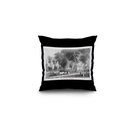 Connecticut Pillow (New Haven, Connecticut - Campus Scene at Yale University (16x16 Spun Polyester Pillow, Black Border) )