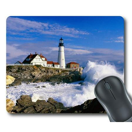 "GCKG (GCKG-Mousepad) Lighthouse and Wave Mouse Pad Personalized Unique Rectangle Gaming Mousepad 9.84""(L) x 7.87""(W)"