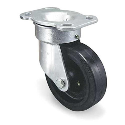 GRAINGER APPROVED Kingpinless Plate Caster,Swivel,Rubber,8 in.,1200 lb., TSH200RU15T24