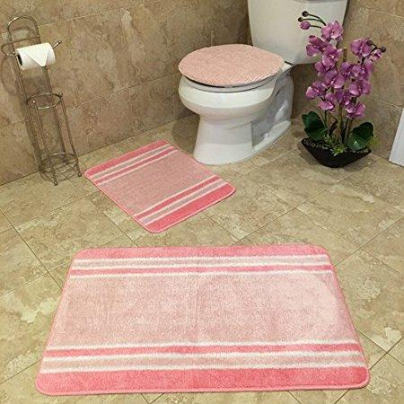 3 piece bathroom rug sets anti bacterial rubber back non skid slip light pink striped bath rug. Black Bedroom Furniture Sets. Home Design Ideas