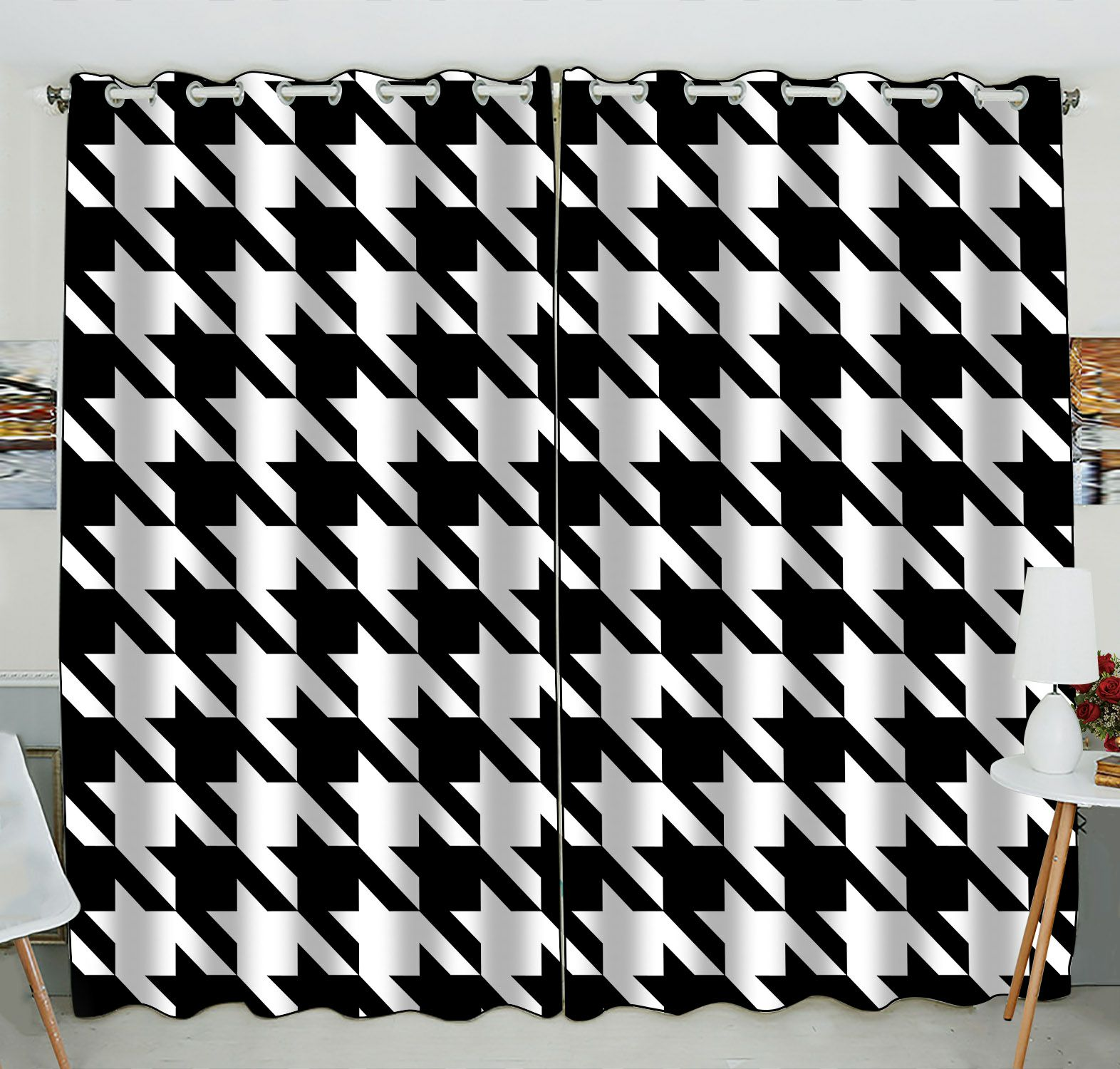 ZKGK Houndstooth Pattern Window Curtain Drapery/Panels/Treatment For Living Room Bedroom Kids Rooms 52x84 inches Two Panel