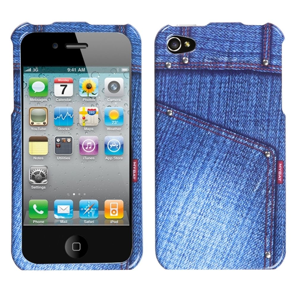 75c65dd0251f7f Insten Blue Jeans Phone Design Case with Studs For Apple iPhone 4 ...