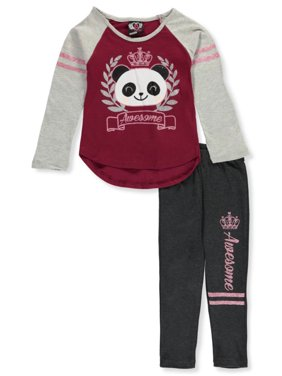 Real Love Girls' Awesome Panda 2-Piece Leggings Set Outfit