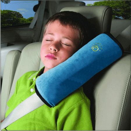 CBD Seatbelt Headrest Pillow Cover Shoulder Pad Comfy Support Car Pillow for Kids Blue