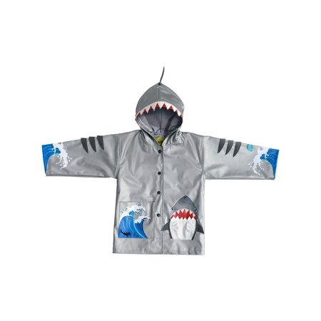 - Kidorable Little Boys Grey Shark Mouth Pocket Gills Hooded Rain Coat 2T-6X