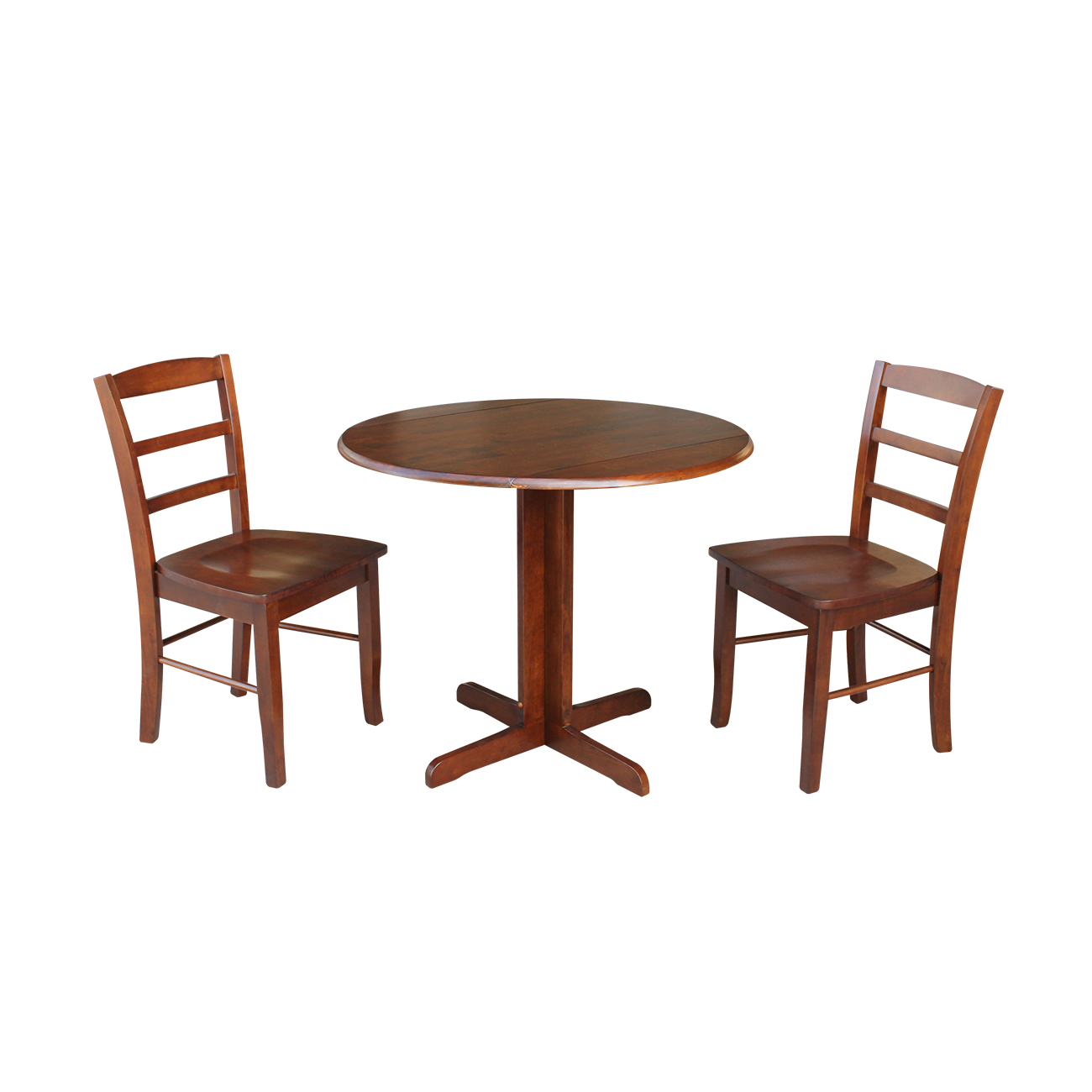 36 inch Dual Drop Leaf Dining Table with Two X-back Chairs in Espresso