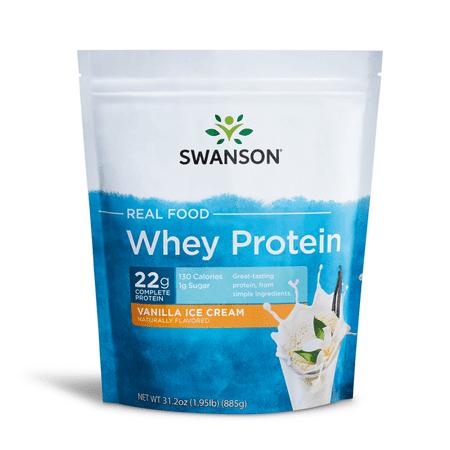 Swanson Real Food Vanilla Ice Cream Flavor Whey Protein Powder, 31.2