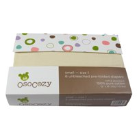 Deals on OsoCozy 6 Pack Prefolds Unbleached Cloth Diapers