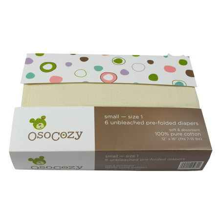 OsoCozy 6 Pack Prefolds Unbleached Cloth Diapers - Infant (7-15 lbs)