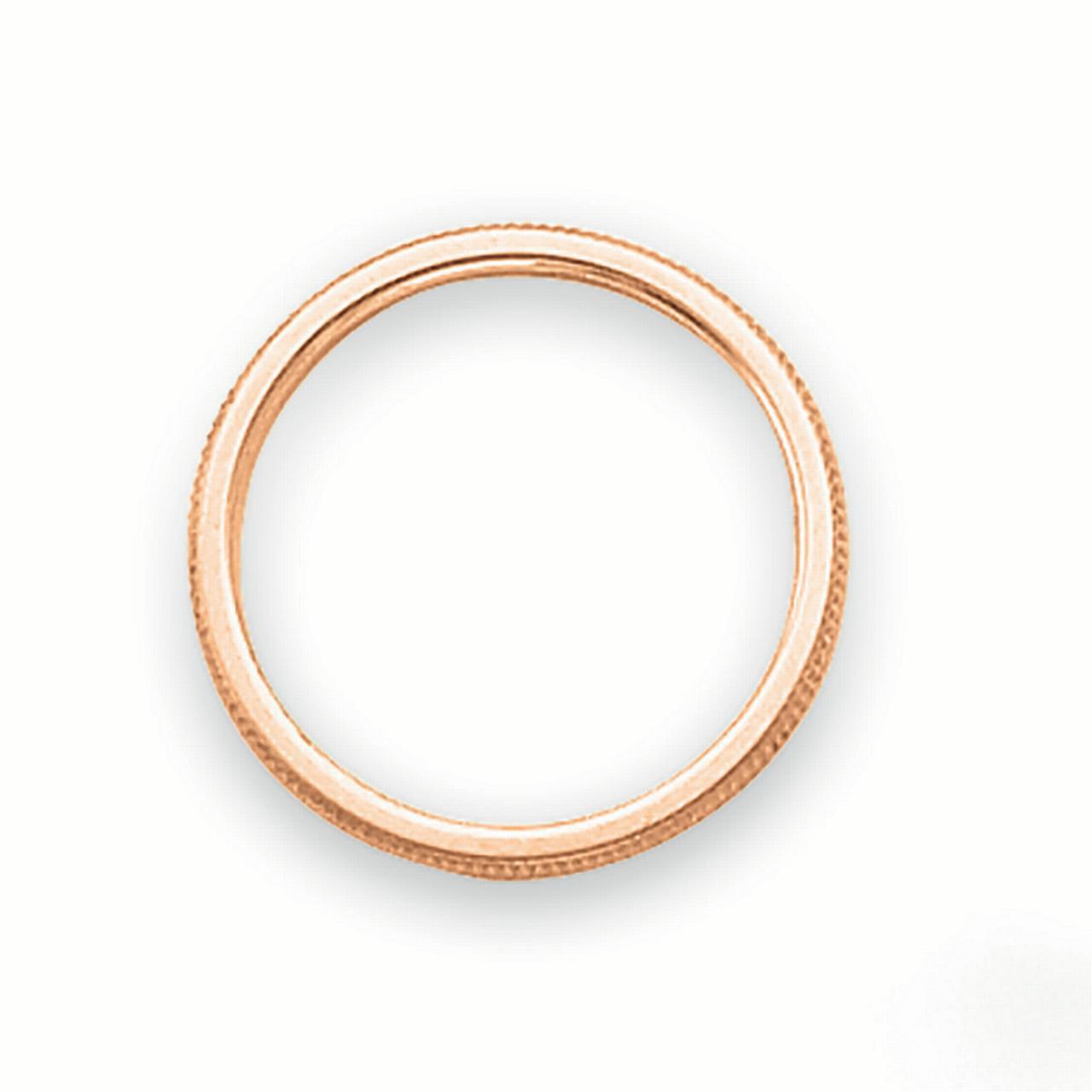 Lex /& Lu 14k Rose Gold Rose-Gold 1.5mm Milgrain Band Ring