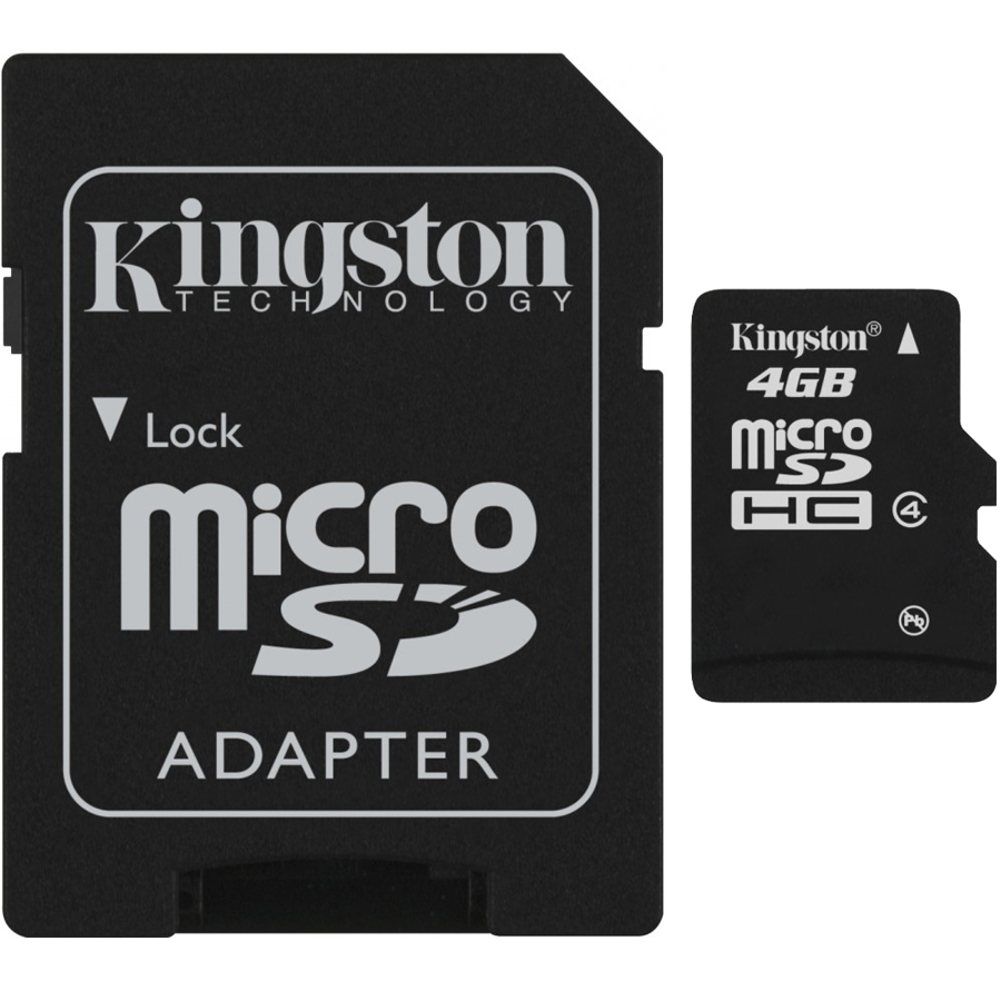 Kingston 4GB microSDHC SecureDigital Class 4 Memory Card with Adapter