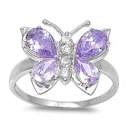Sterling Silver Stunning Women's Flawless Simulated Amethyst Cubic Zirconia Butterfly Ring (Sizes 4-12) (Ring Size (Amethyst Butterfly Ring)