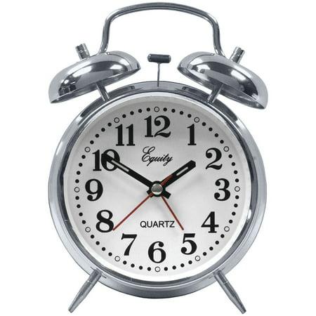 Silent Quartz Analog Twin Bell Alarm Clock with Nightlight and Loud Alarm-Analog Quartz Alarm Clock (Analog Twin Bell Alarm Clock)