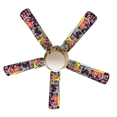 888 Cool Fans F52-0001107 52 in. Star Wars Comic Books 5-Blades White Ceiling Fan with