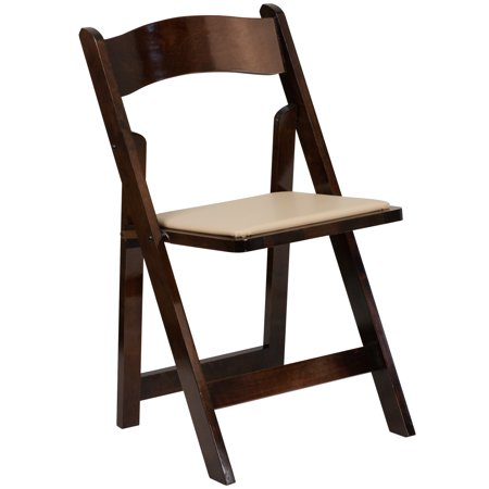 Flash Furniture HERCULES Series Wood Folding Chair with Vinyl Padded Seat, Multiple - Mahogany Folding Chair