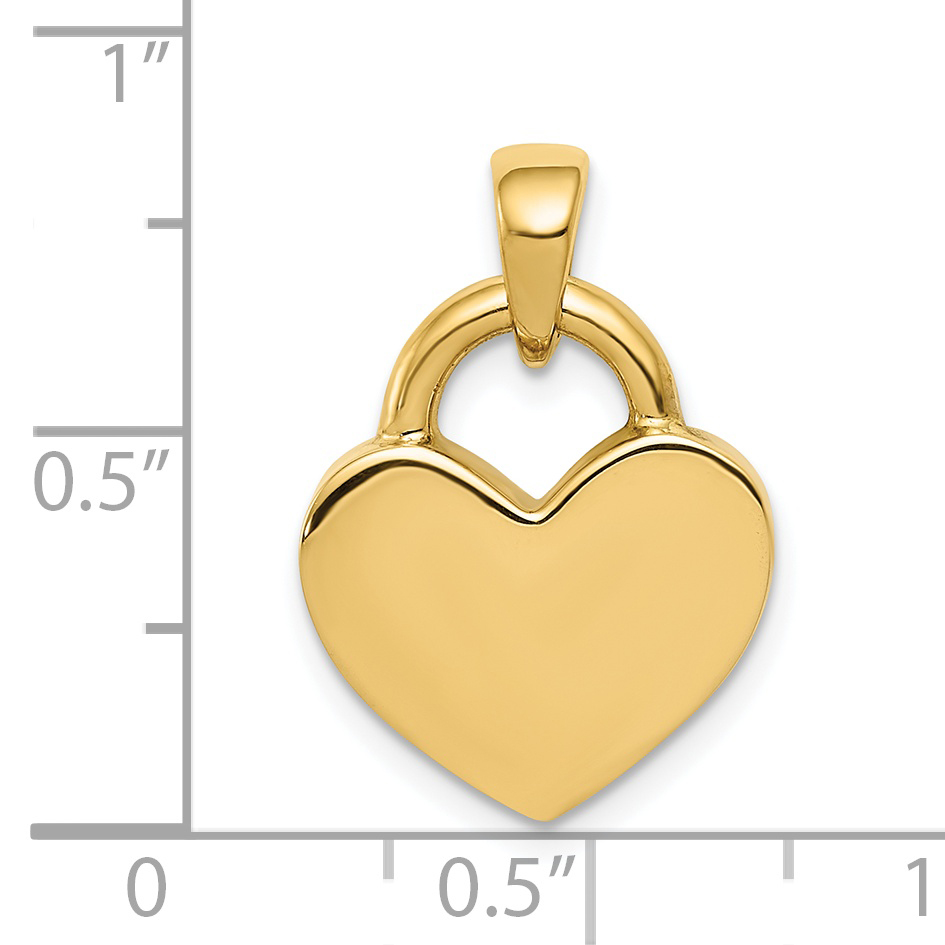 14k Yellow Gold Reversible Heart Pendant Charm Necklace Love Fine Jewelry Gifts For Women For Her - image 1 de 2