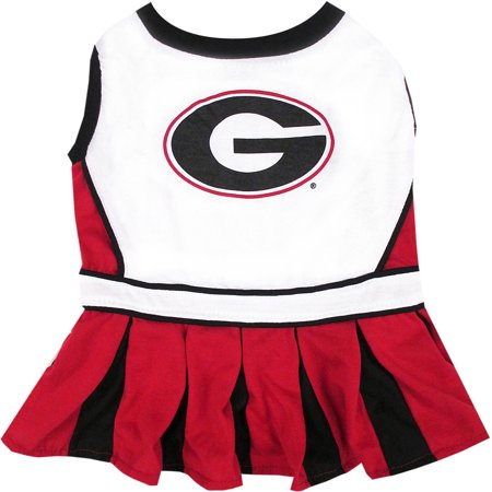 Pets First College Georgia Bulldogs Cheerleader, 3 Sizes Pet Dress Available. Licensed Dog Outfit](Dog Cheerleader Outfit)