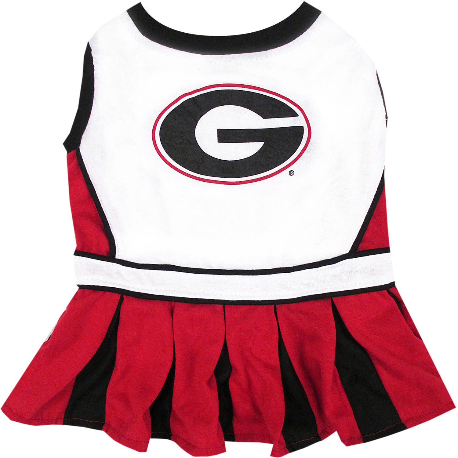 Pets First College Georgia Bulldogs Cheerleader, 3 Sizes Pet Dress Available. Licensed Dog Outfit