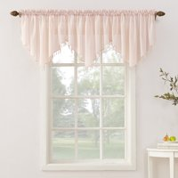 No. 918 Jillian Crushed Voile Ascot Beaded Sheer Rod Pocket Curtain Valance
