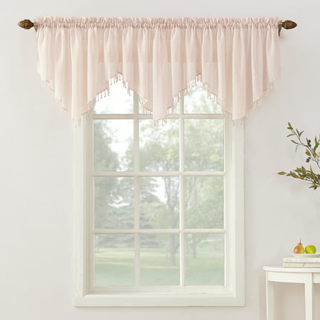 No. 918 Jillian Crushed Voile Ascot Beaded Sheer Rod Pocket Curtain Valance ()
