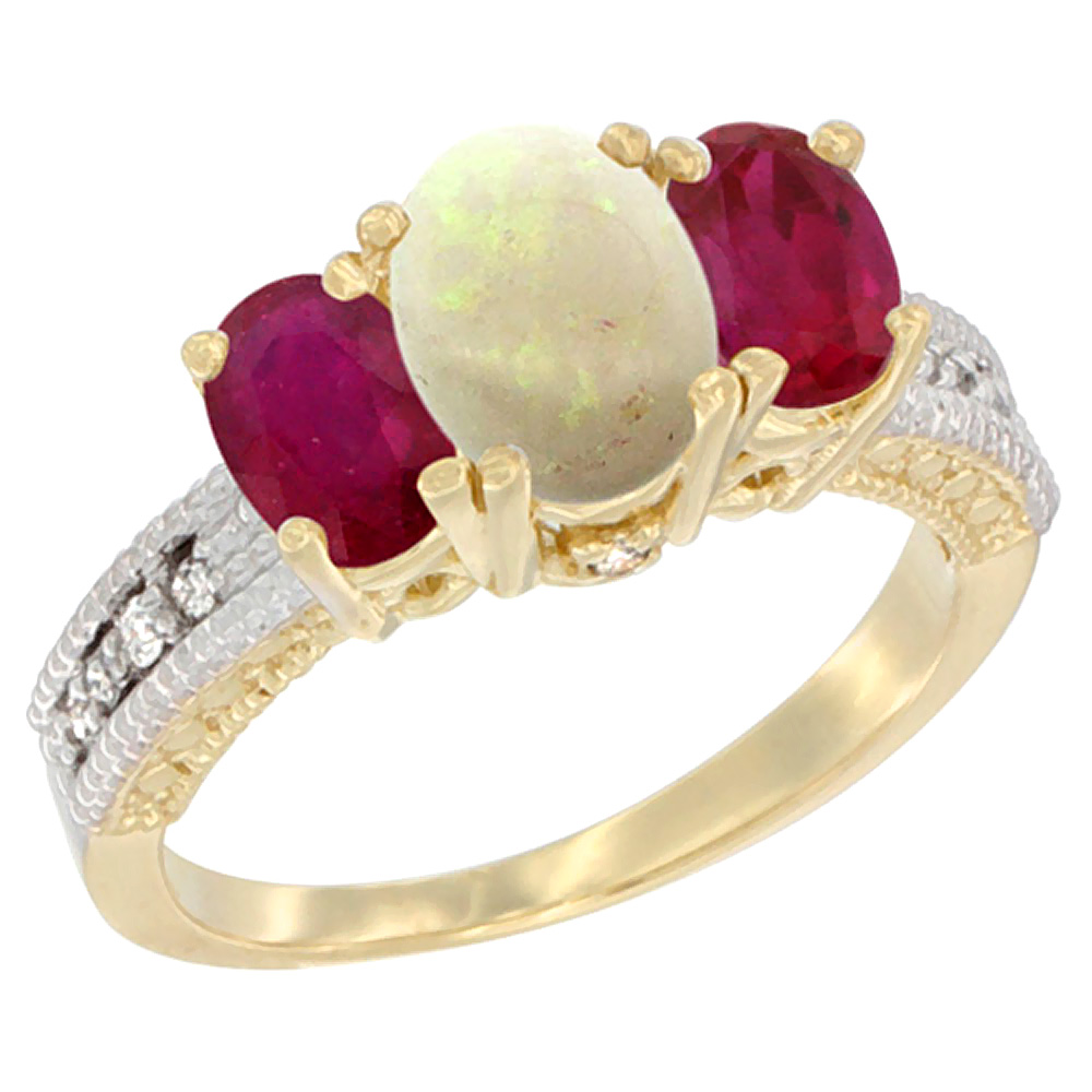 10K Yellow Gold Diamond Natural Opal Ring Oval 3-stone with Enhanced Ruby, sizes 5 10 by WorldJewels