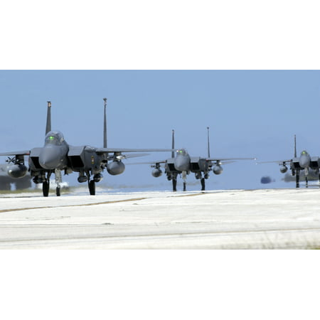 LAMINATED POSTER ANDERSEN AIR FORCE BASE, GuamThree F-15E Strike Eagles taxi on the flightline here April 29. The Poster Print 24 x 36 (29 Wall Eagle)