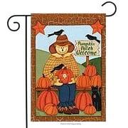 "Pumpkin Patch Scarecrow Fall Garden Flag Autumn Black Crow Primitive 12"" x 18"""