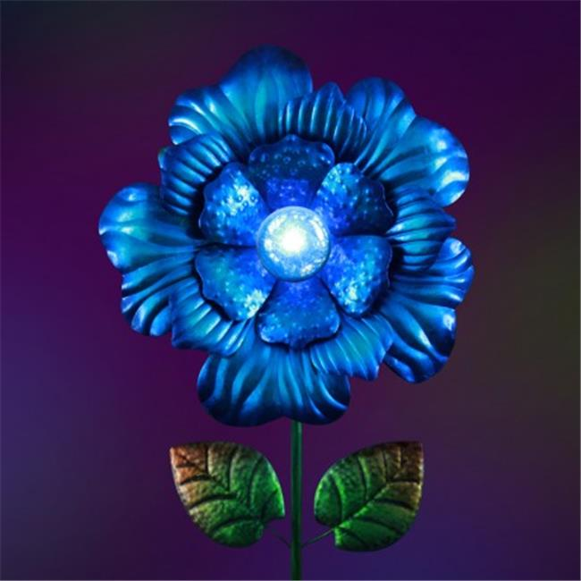Exhart 30354 Glass and Metal Flower Garden Stake - Blue