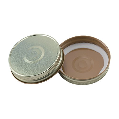 North Mountain Supply Regular Mouth Metal One Piece Mason Jar Safety Button Lids (Pack of 12, Gold)