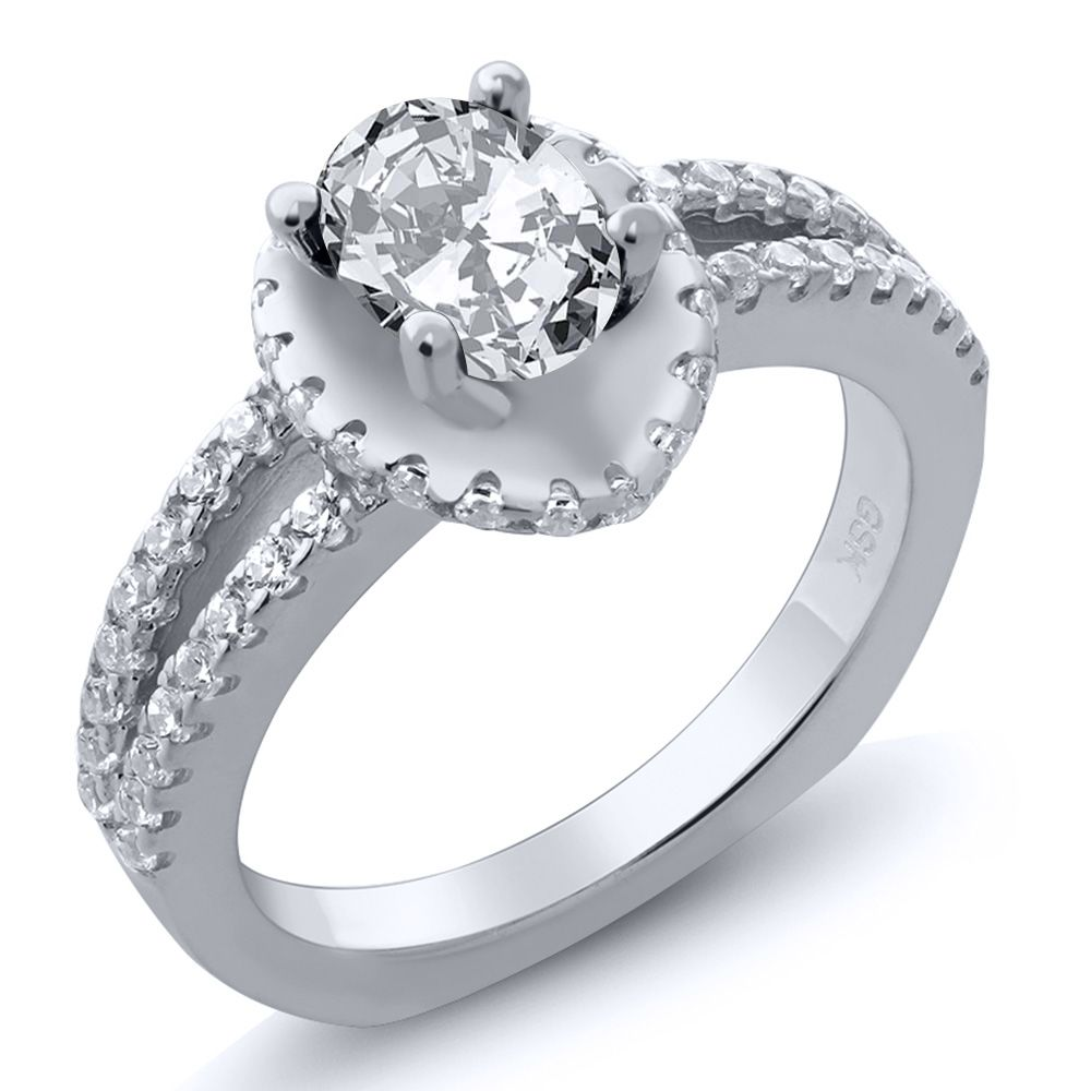 2.01 Ct Oval White Zirconia 18K White Gold Ring