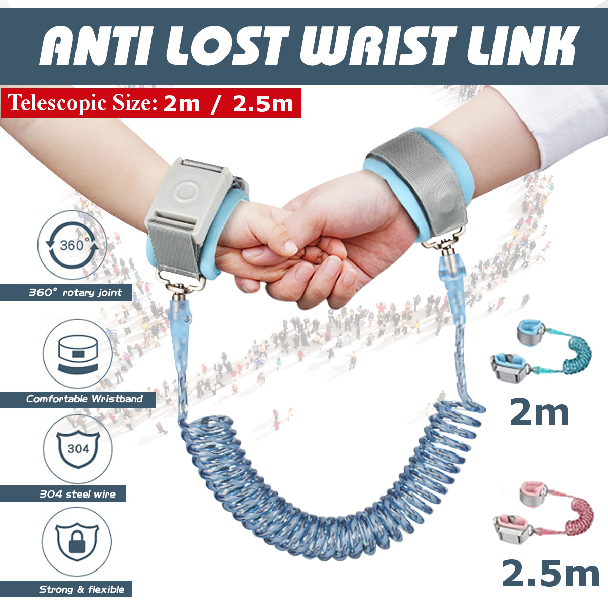 Kids Anti Lost Wrist Link with Lock Children Safety Rope Leash Reflective Wristband for Toddlers Boys Blue,2Meter