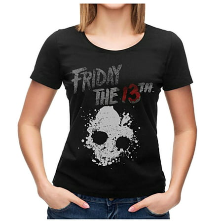 Friday the 13th Shirt Junior's Skull Graphic Black