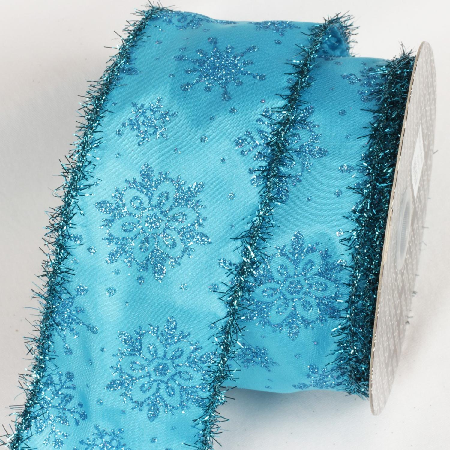 "Blue Glitter Tinsel Christmas Snowflakes Wired Craft Ribbon 3"" x 20 Yards"