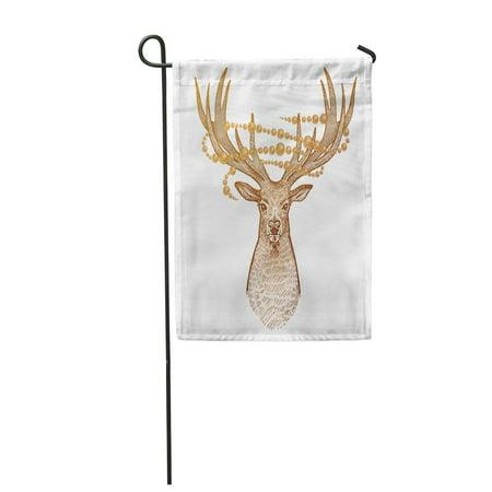 KDAGR Deer Head of Reindeer Big Horns Full Face and Sparkling Garden Flag Decorative Flag House Banner 12x18 inch](Reindeer Horns)