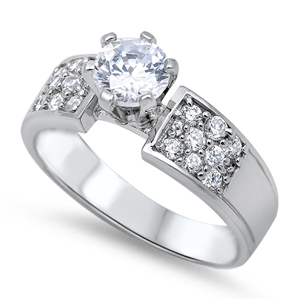 Solitaire Wedding White CZ Fashion Ring ( Sizes 5 6 7 8 9 10 ) New .925 Sterling Silver Band Rings by Sac Silver (Size 5)