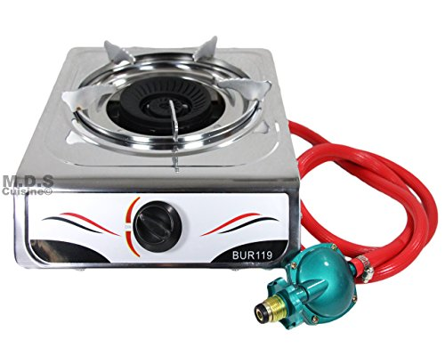 PROLINEMAX 12 x 14 Single Propane Gas Stove 1Burner Tempered Glass Cooktop Auto Ignition Stainless Steel Body