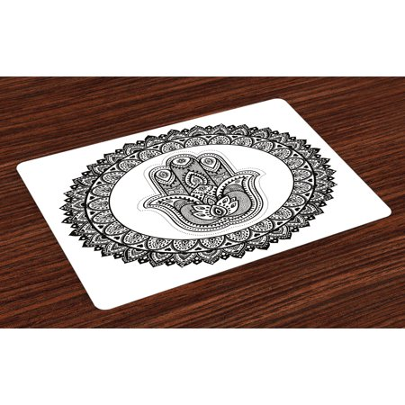 Ethnic Placemats Set of 4 Ancient Eastern Oriental Henna Hand and Mehndi Arabesque Tattoo Work of Art Print, Washable Fabric Place Mats for Dining Room Kitchen Table Decor,Black White, by Ambesonne](Halloween Tattoos Oriental Trading)
