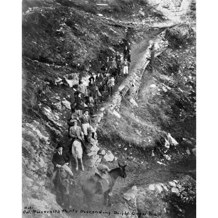 Theodore Roosevelt N 1858 1919  26Th President Of The United States Former President Roosevelt Leading A Group Of Men And Women On Horseback Down The Bright Angel Trail In The Grand Canyon In Arizona