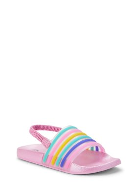 Wonder Nation Rainbow Stripe Slide Sandal (Toddler Girls)