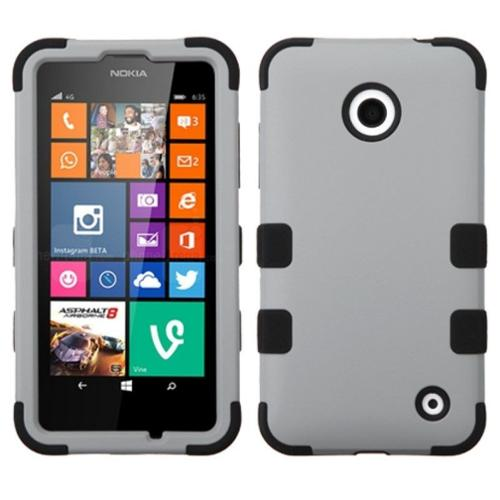 Insten Gray/Black TUFF Hybrid Rugged Hard Shockproof Phone Protector Cover Case For Nokia Lumia 630 635
