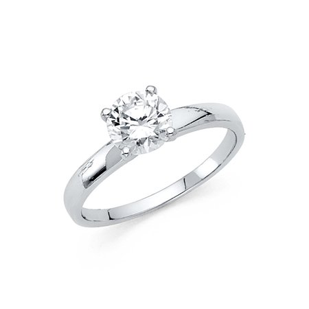 14K Solid White Gold Round Brilliant Cut Solitaire Cubic Zirconia Engagement Wedding Ring , Size