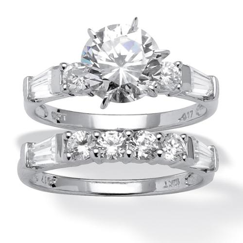 PalmBeach 2 Piece 3.60 TCW Round Cubic Zirconia Bridal Ring Set in 10k White Gold Classic CZ Size 6