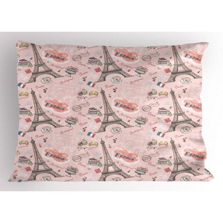 Paris Pillow Sham Romantic Elements from the Capital City of the France Croissant Muffin Macaroon Paris, Decorative Standard Size Printed Pillowcase, 26 X 20 Inches, Multicolor, by - Paris City Size