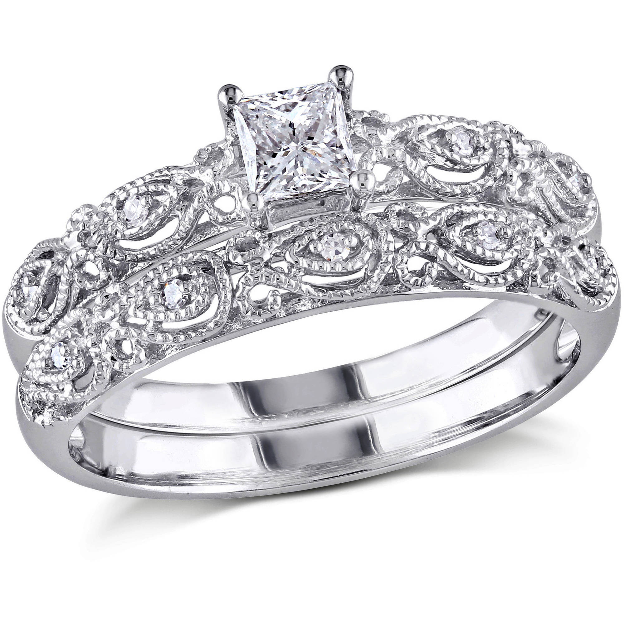 Miabella 1/3 Carat Princess and Round-Cut Diamond 10kt White Gold Bridal Set