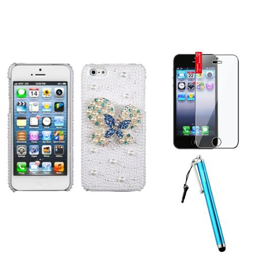 Insten Blue-Dot Butterfly Pearl Diamante Case For iPhone SE 5S 5 + Stylus + Protector