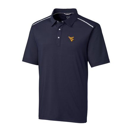 West Virginia Mountaineers Cutter & Buck DryTec Fusion Polo - Navy Blue Drytec Championship Polo