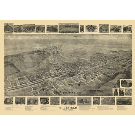 Antique Map of Bluefield West Virginia 1911 Mercer County Poster Print West Virginia Antique