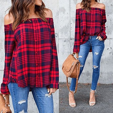 Womens Off Shoulder Long Sleeve Button Down Red Plaid T-Shirt Blouse Top
