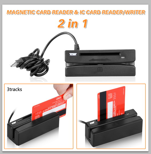 2in1 USB 3 Track Magnetic Card Reader+IC card Reader / Writer USB compatible ISO、AAMVA、CADMV with Software CD
